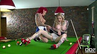 Tattooed Billiard Babes Becky Holt & Belle Black Lick their High Heels