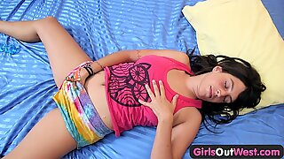 Girls Out West - Busty amateur brunette toys hairy cunt
