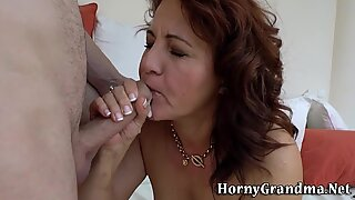 Horny cougar facialized after riding