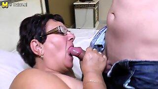 Taboo mature MOM fucks her young boy