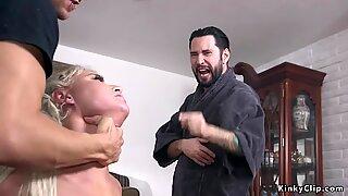 Pool guy and husband anal fucks busty wife