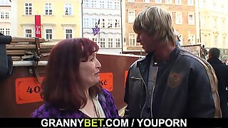 70 years old bitch rides stranger's cock