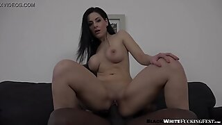Big black cock fills up busty brunette after rough dildo play