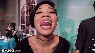 Honey Gold petite blasian babe quivers and cums